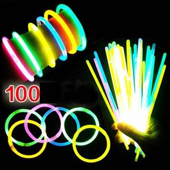 100 sztuk Glowstick Neon Party fluorescencyjne bransoletki naszyjnik świecące w ciemności Neon Sticks materiały na przyjęcie świąteczne