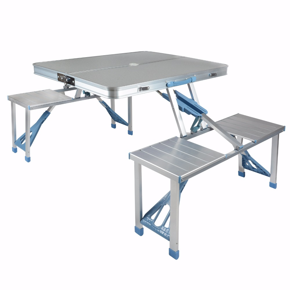 Shellhard Aluminium Outdoor Folding Table Picnic Table Folding Desk W/ 4 Chairs Set For Picnic Outdoor Camping color picnic set