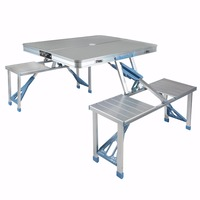 Shellhard Aluminium Outdoor Folding Table Picnic Table Folding Desk W 4 Chairs Set For Picnic Outdoor