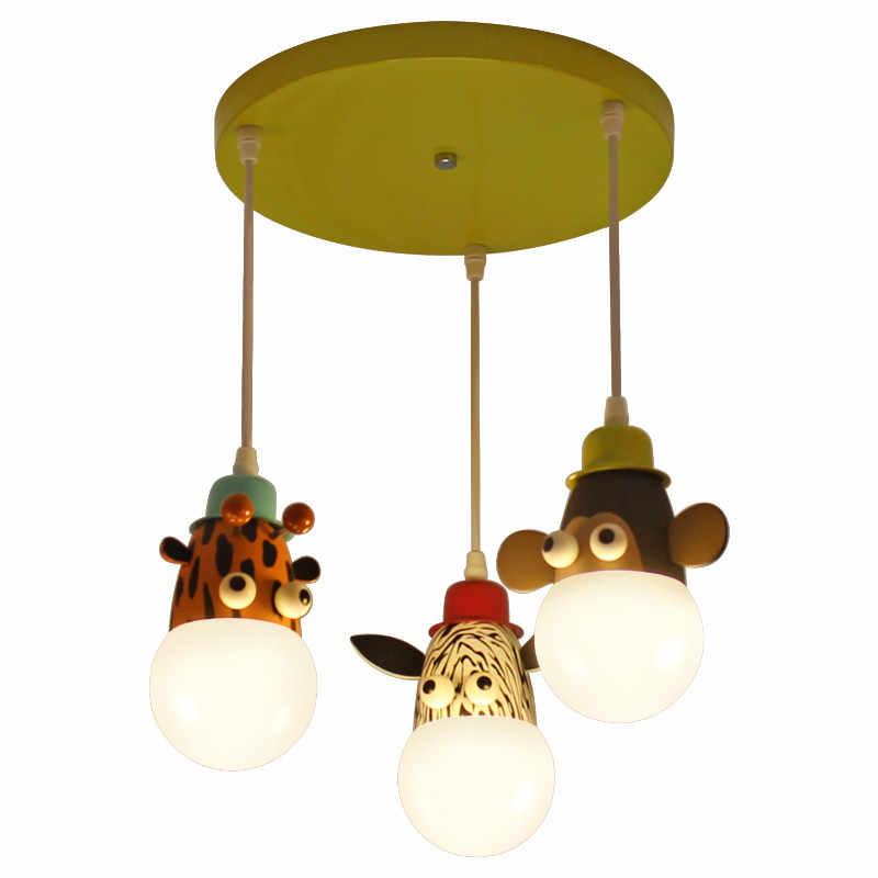 Новинка Светодиодный светильник с белой лампочкой, потолочные светильники животные в мультфильмах, обезьянки зебра и жираф, детская спальня, подвесные светильники