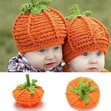 2017 New Baby Lovely  Halloween Pumpkins Shape Wool Manual Warm Knitted Hat Baby Photography Props Beanies Cap For 0-2Years