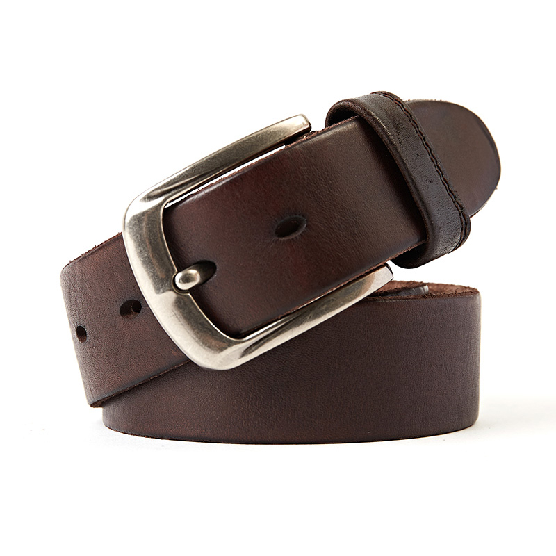 genuine leather belt for men luxury mens belts jeans cowhide winder strap 125 cm length brown color buckle free shipping new