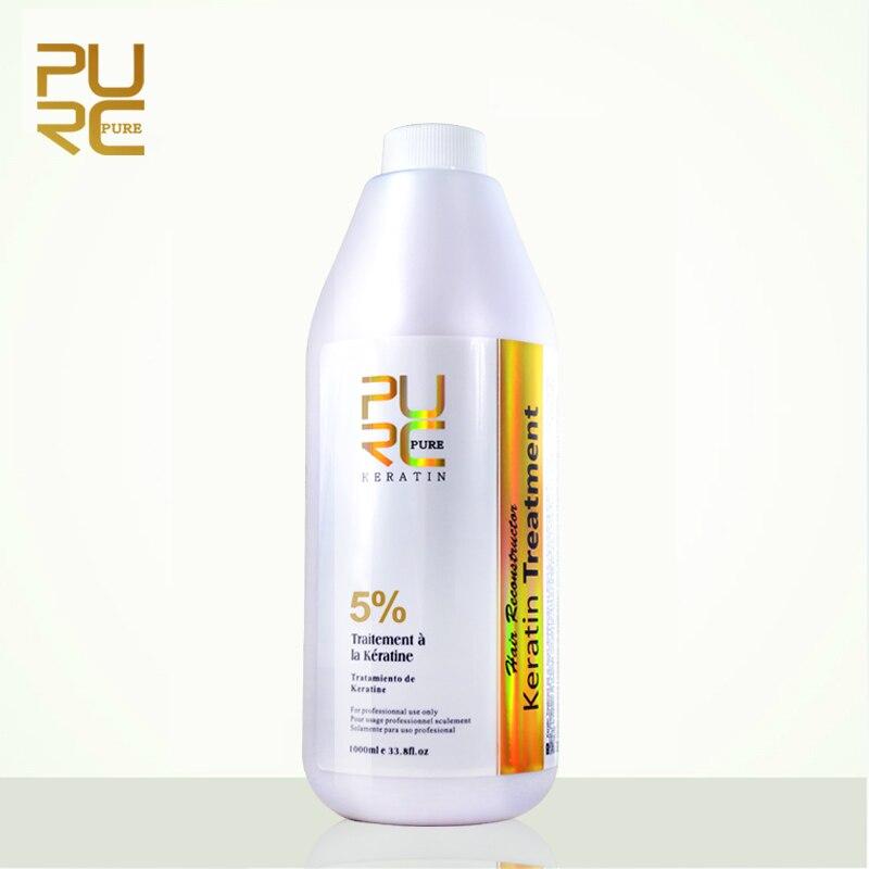 PURC Brésilienne formol de traitement de cheveux de kératine 5% 1000 ml vente Chaude défriser les cheveux soins des cheveux et cheveux masque livraison gratuite PUR