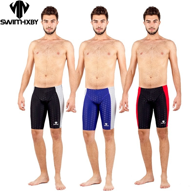HXBY Sharkskin water proof chlorine resistant mens training swimming swim trunks Jammers shorts mens btight riefs pants