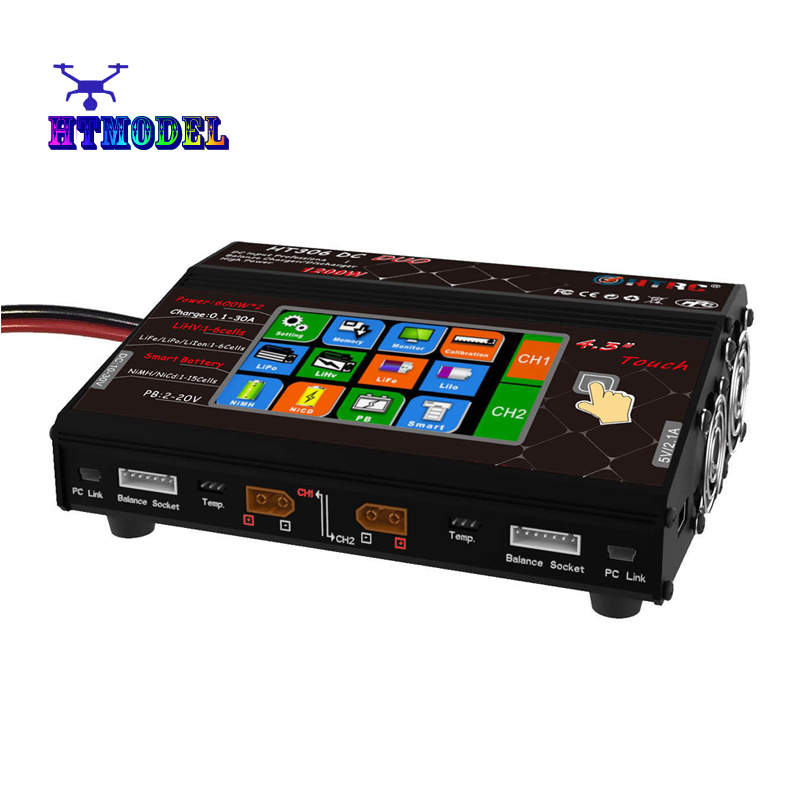 HTRC HT306 RC Balance Charger for Lilon/LiPo/LiFe/LiHV Battery 4.3 Color LCD Touch Screen DC DUO 600W*2 30A*2 Dual Port тепловая завеса daire ht 306
