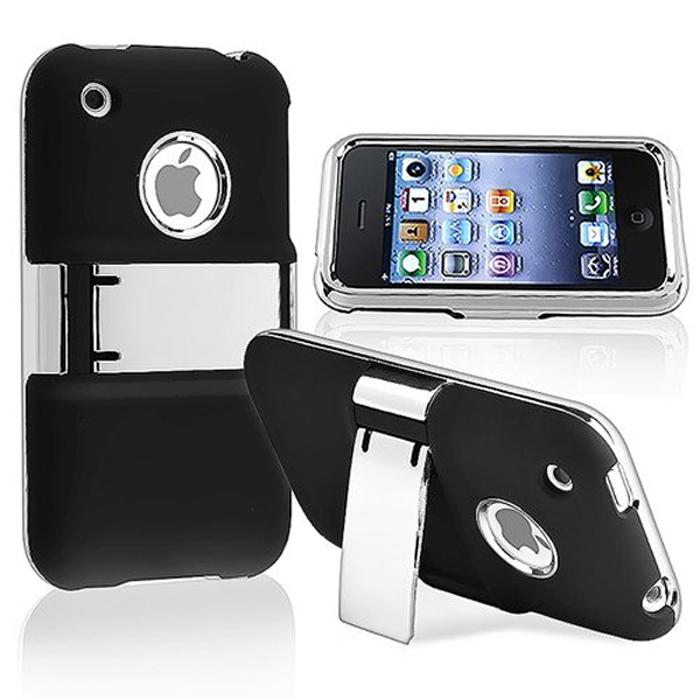 CARPRIE Deluxe Hard Back Case Cover with Chrome Stand For iPhone 3G 3GS Blackdrop shopping