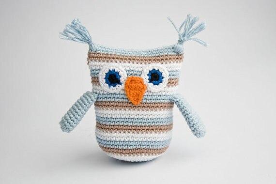 Owl Rattle, Handmade Crochet Toy, Baby Shower Gift