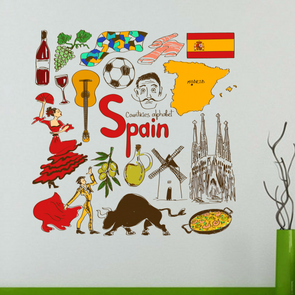 Spain Corlorful Illustration Travel The Word Landmark Wall Sticker Wedding Decor Vinyl Waterproof Wallpaper