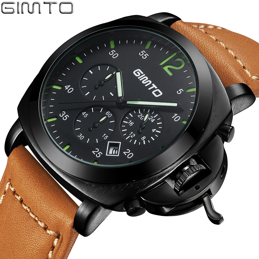 GIMTO Men's Chronograph Watch Top Brand Luxury Male Leather Waterproof Quartz Military Sport Watch Men Clock montre reloj hombre