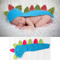 Baby Photography Props Hats Infant Photo Costume Blue Dinosaur Newborn Hundred Days Baby Photo Outfit Caps Crochet Knitted Shawl