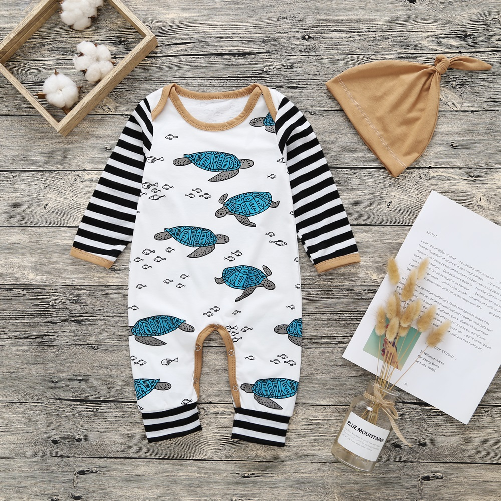 2018 New Newborn Baby Boys Girls Tortoise Printed Long Sleeve Winter Cotton Romper + Hat Kid Jumpsuit Playsuit Outfits Clothing