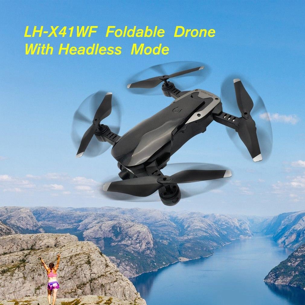 LH-X41WF Drone RC 6 axes Mini pliable FPV Drone WIFI HD caméra Alititude maintien décollage/atterrissage Drone avec Batteries set jouet RC