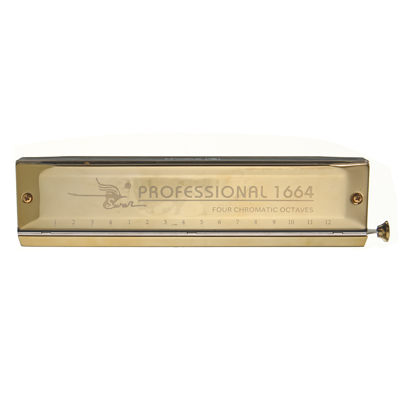 Swan Gold Color 16 Holes 64 Tones Laser Proceeded Square High-end Chromatic Harmonica Music Musical Instrument Tool Accessory high quality southern laser cast line instrument marking device 4lines ml313 the laser level