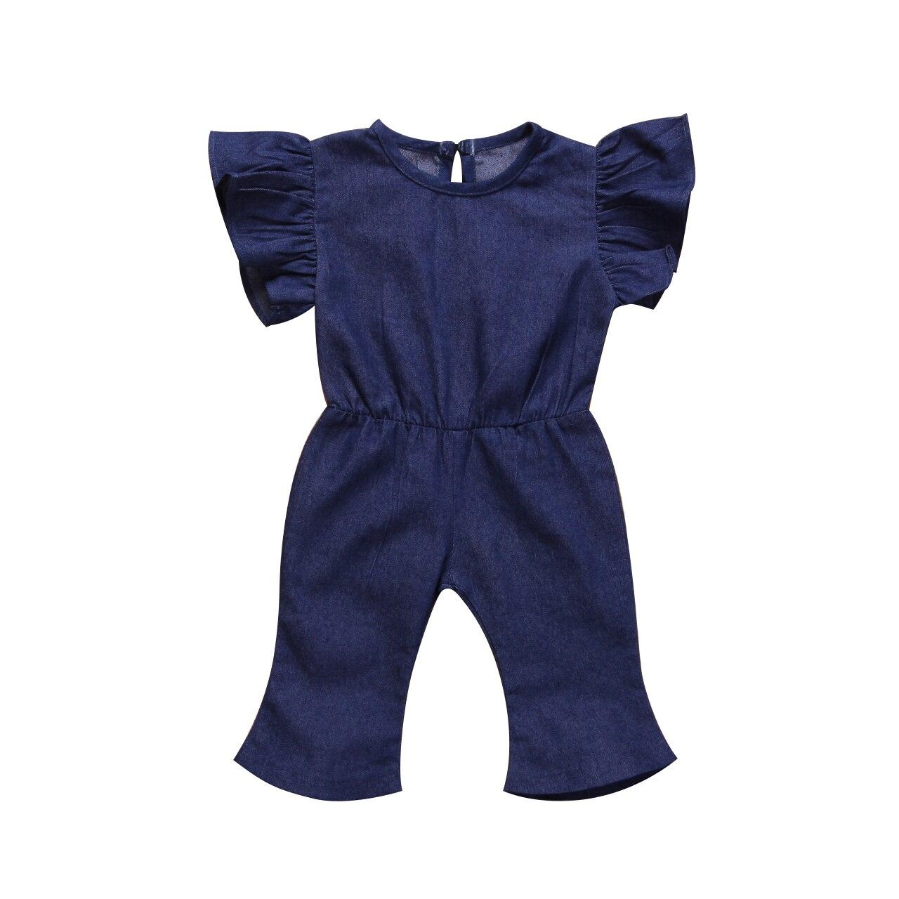 De Goedkoopste Prijs Hot Casual Baby Meisjes Kid Ruches Mouwen Denim Romper Jumpsuit Een Stukken Outfits Kleding Size 1-7y