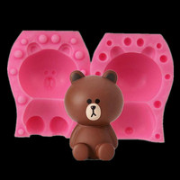 3D Little Bear Silicone Molds 3D Baby Party Cupcake Fondant Cake Decorating Tools Chocolate Candy Clay