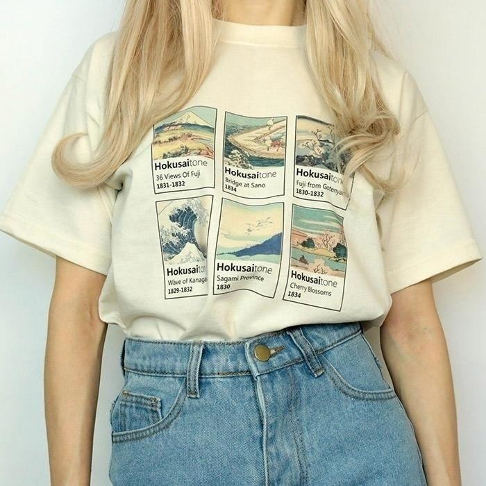 Impreso Hokusai Pintura Yf 3d Moda Corta Katsushika Camiseta Camisetas Kuakuayu Estilo Mujer Manga ED9WH2I