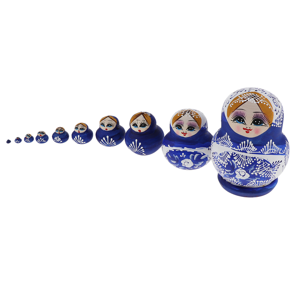 Delicate 5pcs Set Wooden Russian Doll Stacking Babushka Matryoshka Doll Gift