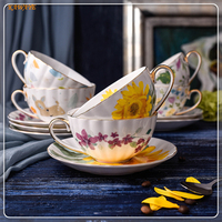 Coffee cup and saucer China Coffee Tea Cup Personality Flowers Ceramics Milk Cup And Saucer Afternoon Tea Coffee Cup 6ZDZ461
