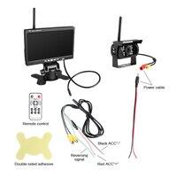 """7 """"צג ערכות + עמיד למים אחורית אלחוטי גיבוי מצלמות חניה סיוע ראיית לילה עבור RV משאית קרוואן-במצלמות מעקב מתוך אבטחה והגנה באתר"""