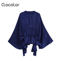 Clocolor Women Blouse Solid Round Neck Long Sleeve Batwing Sleeve Pleated Lace Up Loose Pullover Top