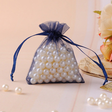 7x9cm 100pcs/lot Navy Blue Organza Jewelry Packaging Bags Small Drawstring Pouches Tulle Sack Customized Logo Printing Wholesale