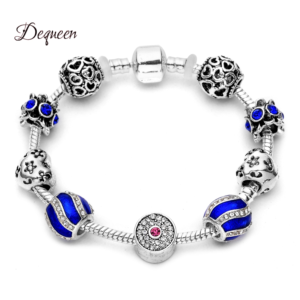 Dequeen Newest Whtie Pan Charms Bracelet Rhinestones Bracelet Love Heart  Charm Flower Bead Bracelets Bangles For Women 4c29b54149ef