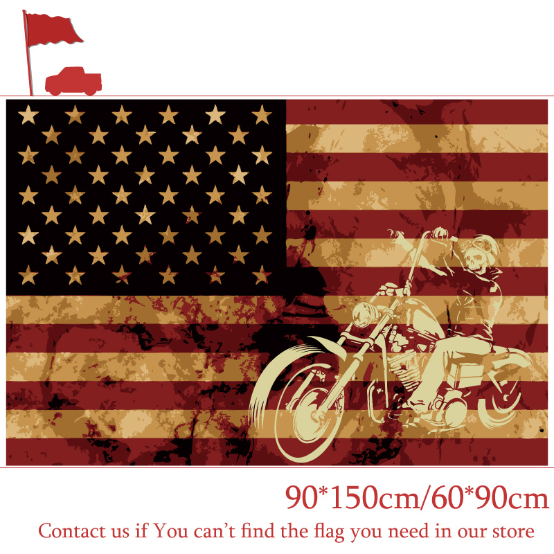 90*150cm 60*90cm 3X5FT <font><b>Flag</b></font> Of Pirate Riding Motorcycle American Priate <font><b>Flags</b></font> <font><b>90x150cm</b></font> Customized Pirate Banners image