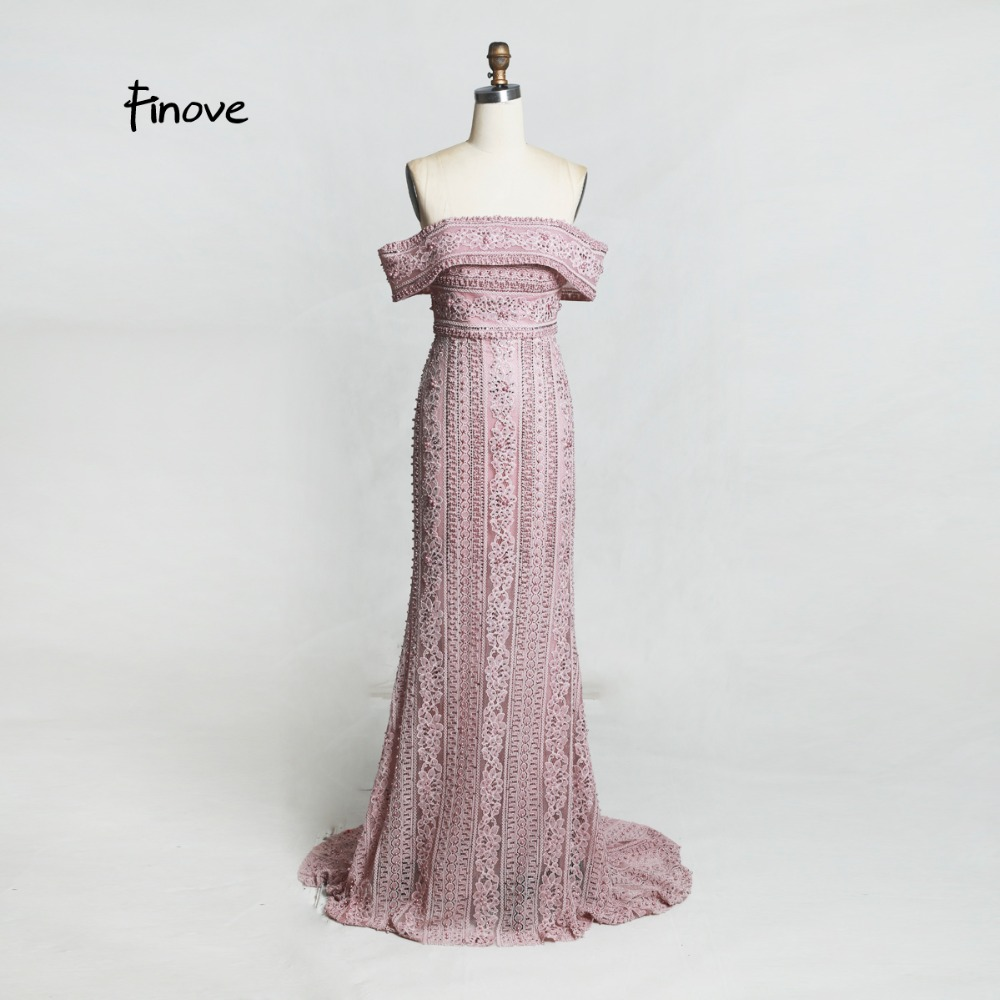 Finove Evening Dress Long 2019 Top Selling Woman Lace Dress Chic Boat Neck Fully Pearls Floor