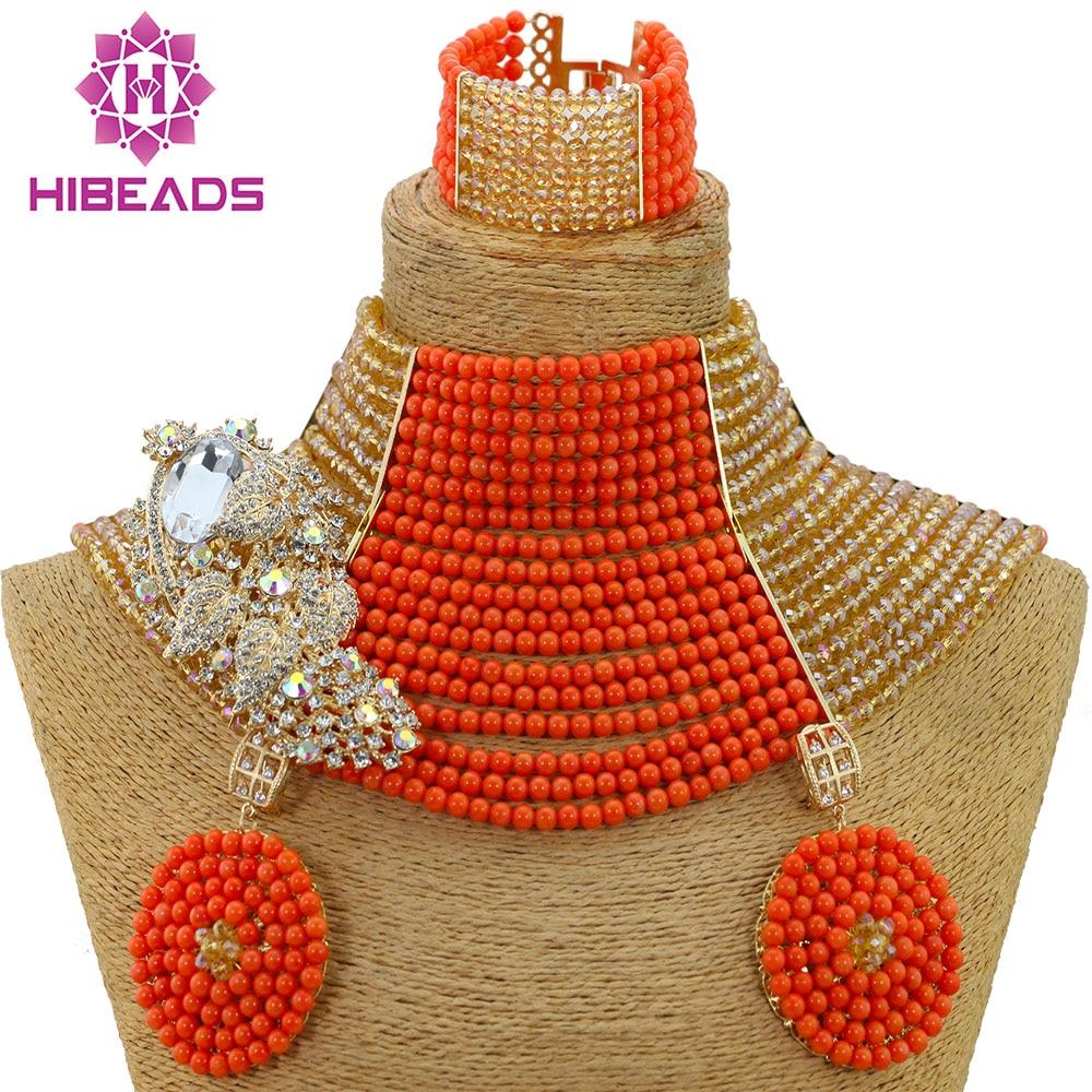 Incroyable 18 couches Style ras du cou mariage africain perles de corail Costume bijoux ensemble Champagne or Dubai femmes bijoux ensemble HX942
