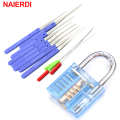 NAIERDI Mini Blue Visible Pick Cutaway Practice Padlock Lock With Broken Key Removing Hooks Lock Extractor Set Locksmith Tool