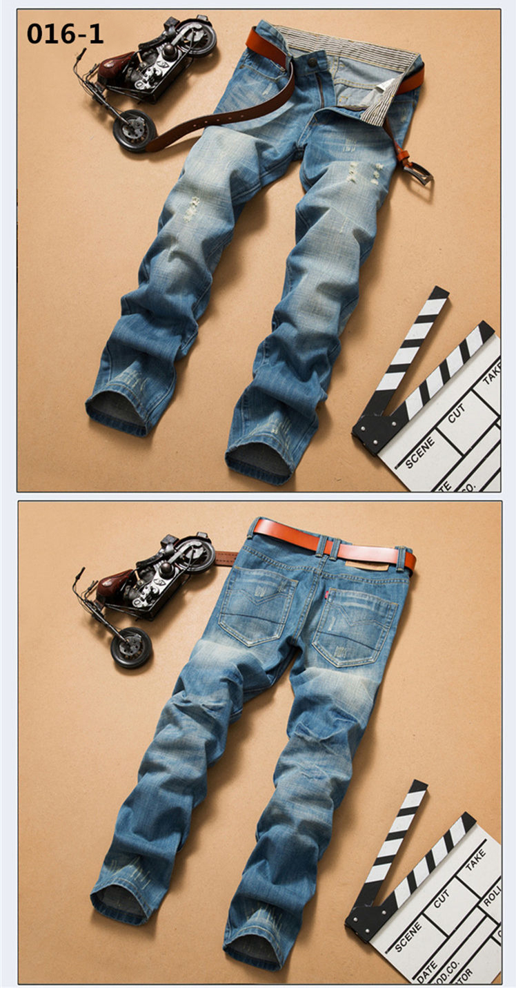 Vintage Stonewash Ripped Jeans Men Brand Quality Denim Pants