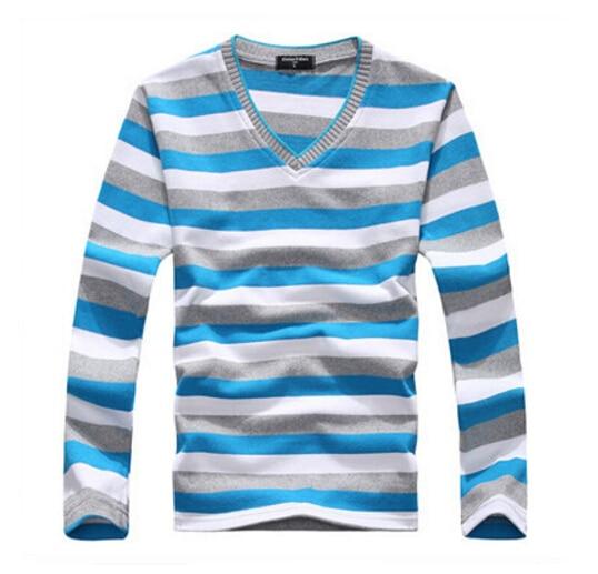 Прилагаемый текст поступление 2016 мужская с длинными рукавами хлопок в полоску свитер Мода и горячие пуловер мужская брендовая Новинка