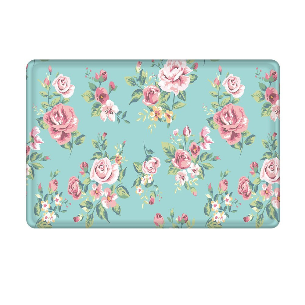 Charmhome Pink Rose Flower Flannel Microfiber Shower Accent Rug Aqua Non Slip Soft Absorbent