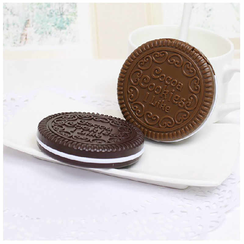 Fashion Mini Chocolate Biscuits Mirror Portable Cosmetic Compact Pocket Makeup Pocket Mirror Travel Wedding Decorative Mirrors