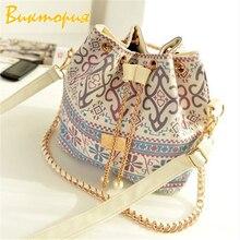 CHARAS brand canvas Womens messenger bags High capacity Bucket handbag Geometric print Multifunctional women shoulder bag