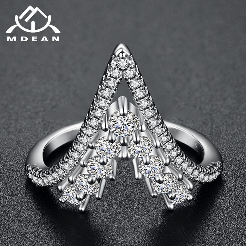 MDEAN White Gold Color Wedding Trendy Rings AAA Zircon Jewelry for Women Engagement Femme Bijoux Bague Size 6 7 8 9 10 H1206