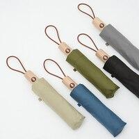Folding Umbrella Automatic 8K Windproof Rain Umbrellas For Men Women Wooden Handle Quality 3 Colors Available