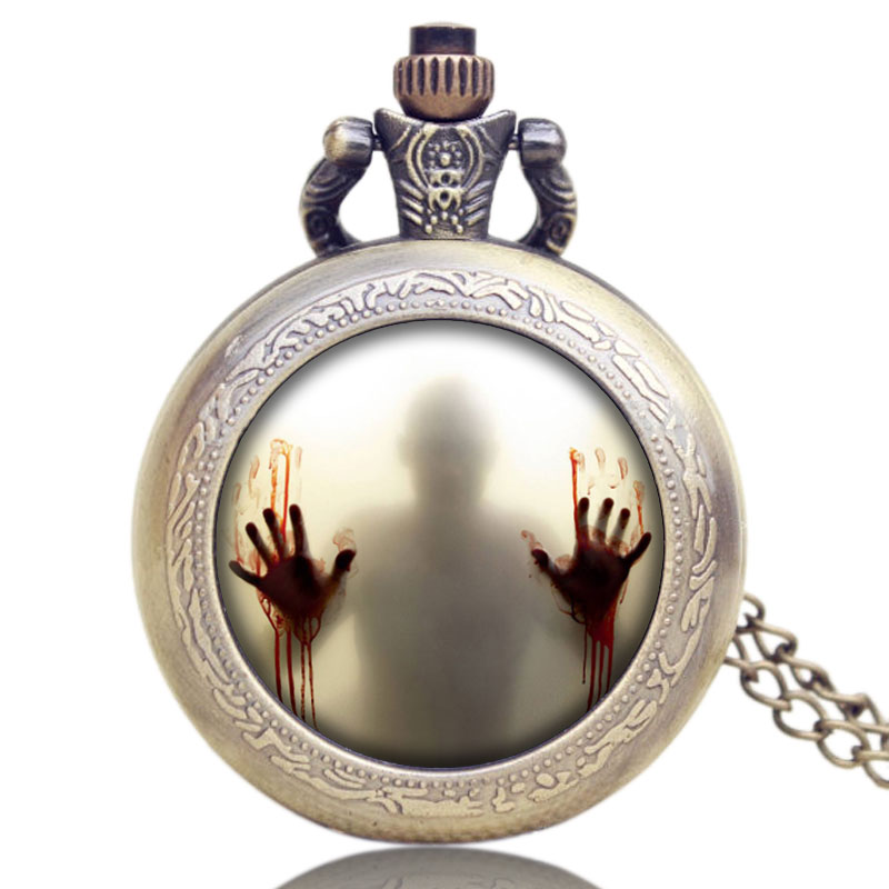 American Drama The Walking Dead Theme Zombie Design Bronze Necklace Pendant Quartz Pocket Watch Best Gift