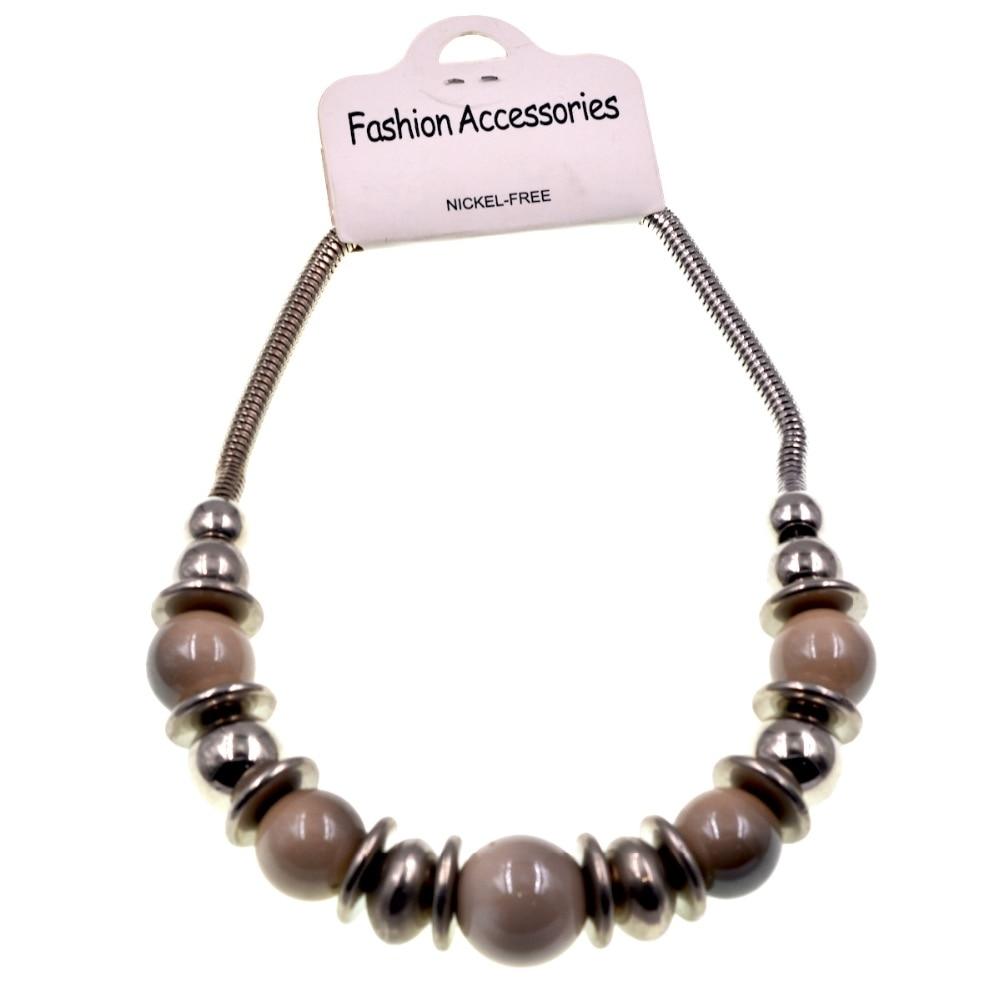 Fashion Jewelry Striped Ceramic Bead & Silver Disc
