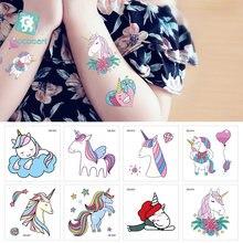 aa0ffc23a Rocooart Small Unicorn Face Tattoo Cute Cartoon Tatuajes Temporary Tattoo  Sticker For Body Art Kids Tatouage Children Taty Gift