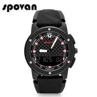 New Fashion SPOVAN GEMINI Men Sport Watches Double Display Wristwatch LED Backlight 5ATM Waterproof Multifunction male clock