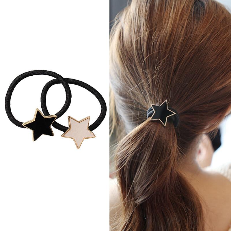 M Mism Simple Metal Star Hair Rope Women Elastic Hair Band