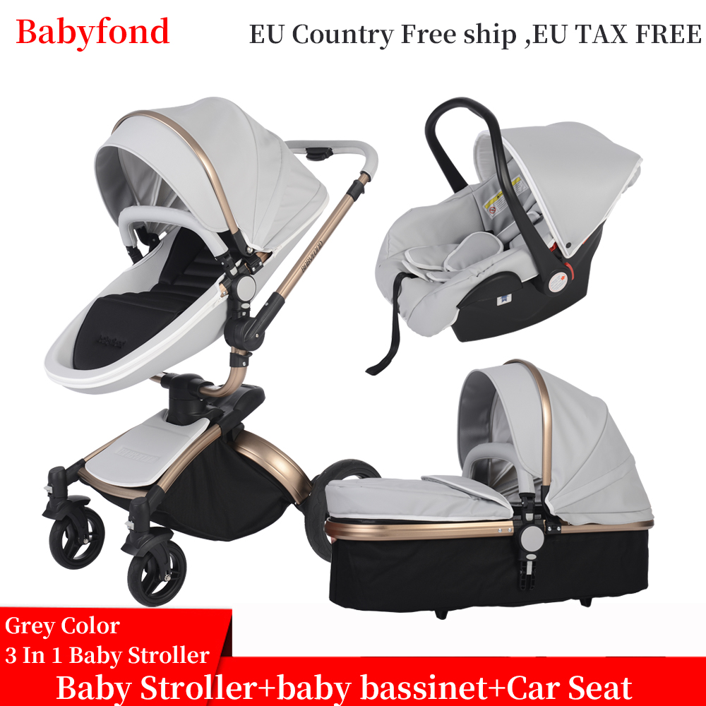 Babyfond luxury baby stroller 3 in 1 Fashion Carriage 360 degree rotation two-way Trolley PU Aluminum alloy Gold Frame Baby Pram