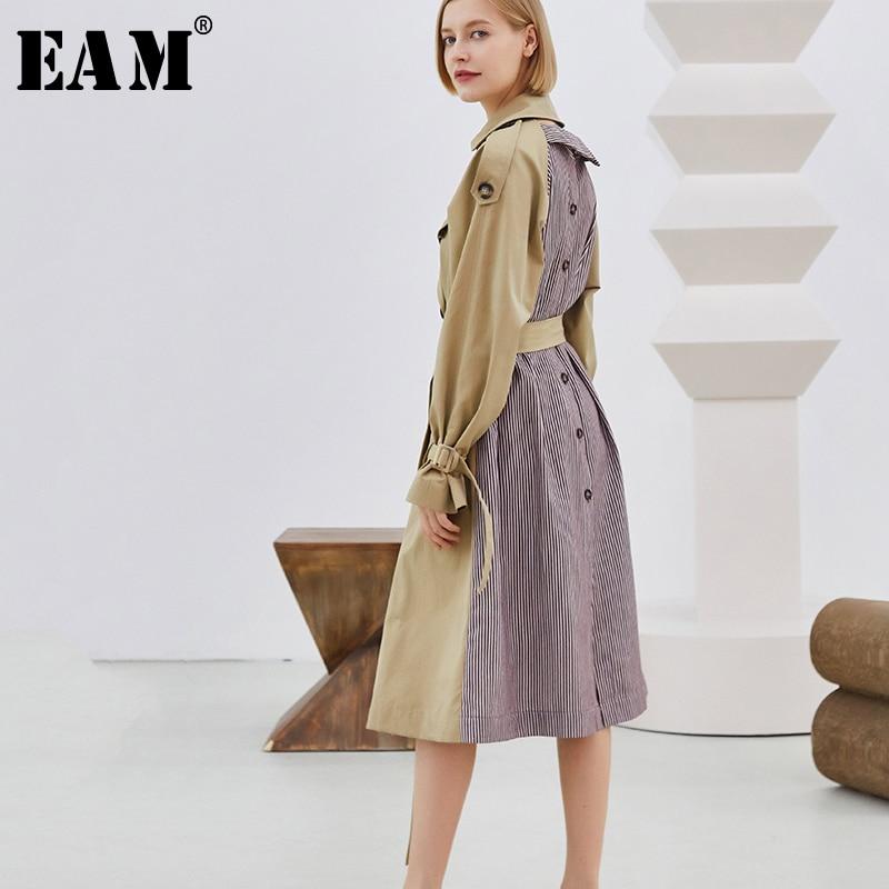 Oa994 eam Rayé 2019 Femmes Vintage De Coupe vent Turn Hiver Nouveau Mode Bouton Marée Printemps Kaki Col Khaki down Patchwork rrfUq