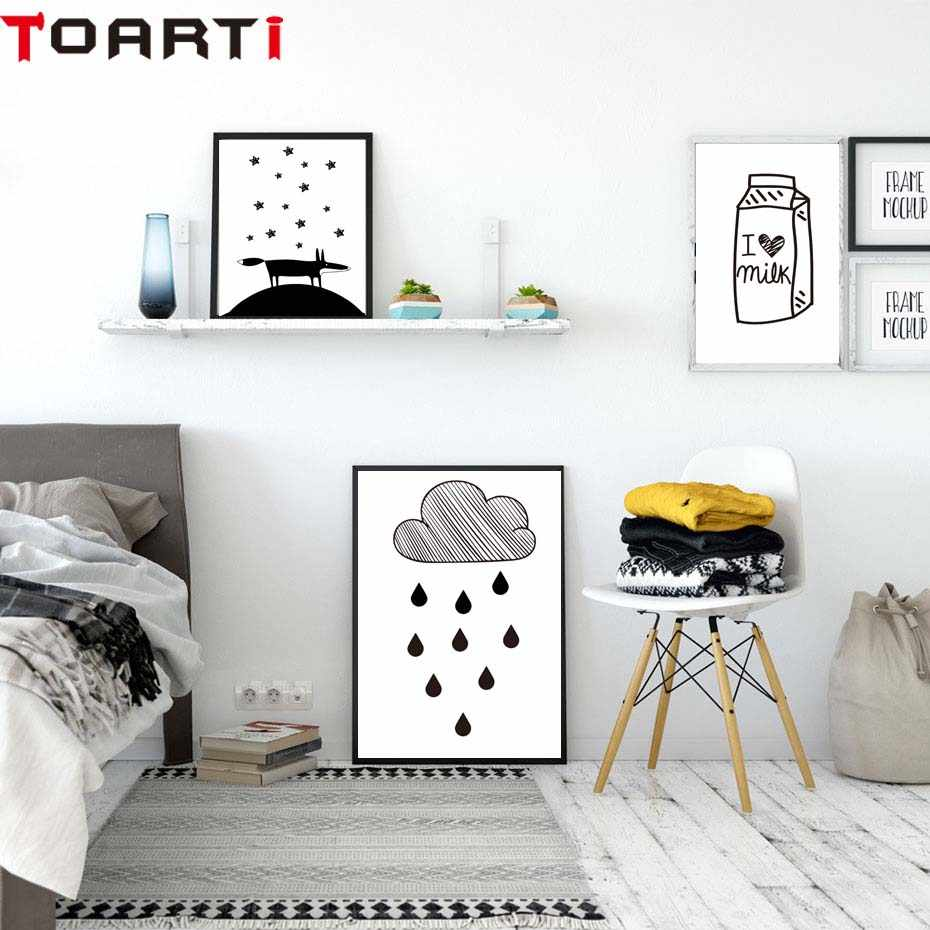 Cartoon Posters Prints Milk Rain Dinosaur Canvas Painting On The Wall Black & White Art Pictures For Kids Room Nursery Home Deco
