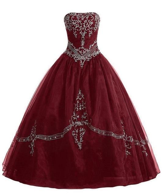 Sweet 16 Vestidos de Baile 2017 Vestidos 15 Anos De Princesa Barato Borgonha Vestidos Quinceanera