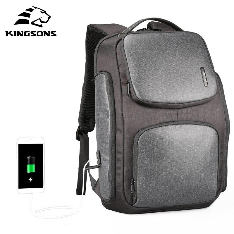 Kingsons משודרג שמש תרמיל מהיר USB טעינת תרמיל 15.6 אינץ מחשב נייד תרמילי גברים נשים נסיעות תיק זכר מגניב המוצ 'ילה