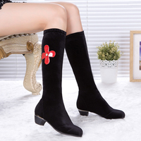 Ballroom Latin Dance Shoes Mid Heel Dance Boots For Women Girl Long Shoes Suede 4 Cm