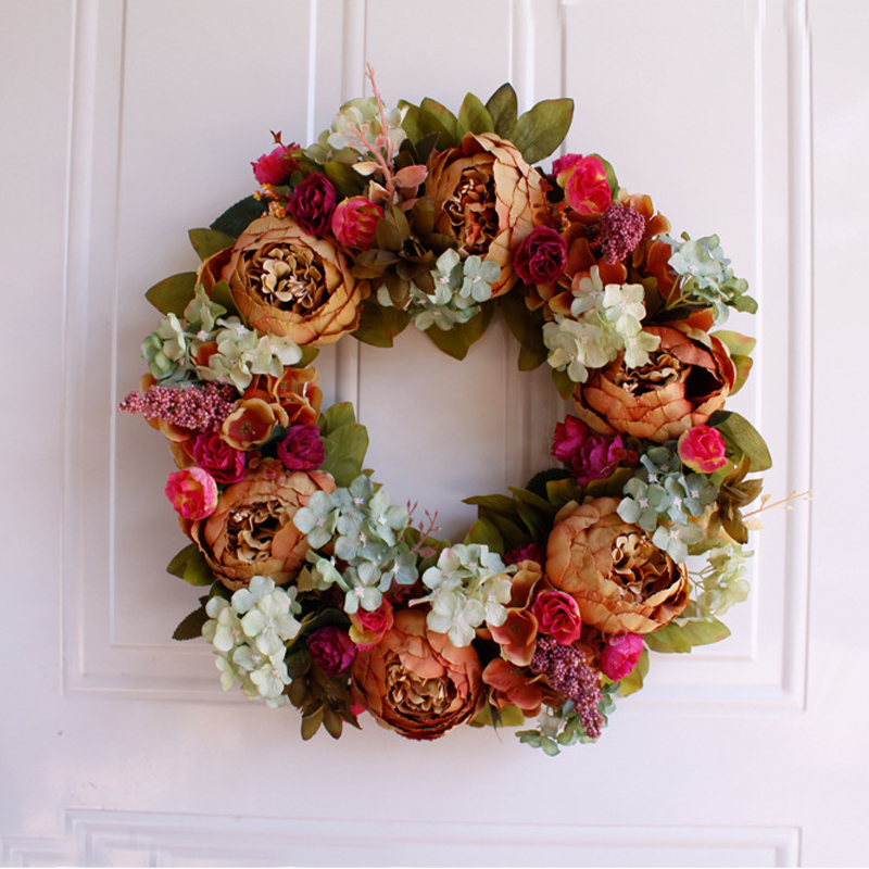 White Peony Wreath Christmas Wreath Door Wall Hanging Ornament Rattan Round Garland Decoration Artificial Flower Fake Flower
