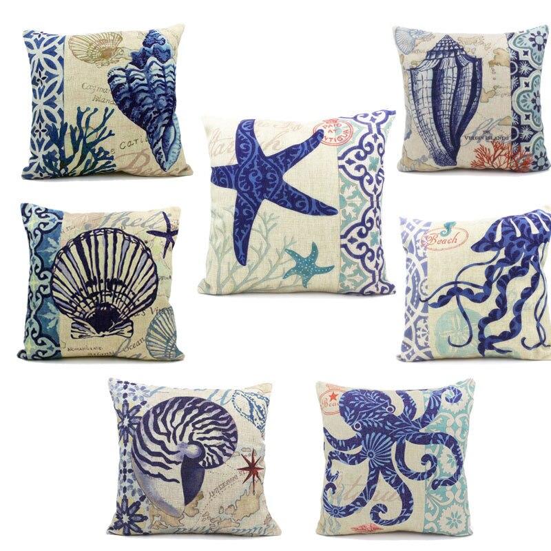 On sale 45x45cm Ocean Style Sea Patterns Cotton Linen Sofa Throw Cushion Covers octopus Home Decor Pillows